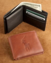 Embossed Polo Pony Leather Passcase Wallet