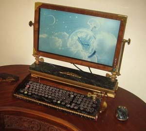 Steampunk Monitor and Keyboard